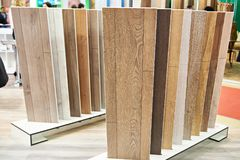 Decorative wooden panels in store. Decorative wooden panels for walls and floor in the store Royalty Free Stock Image
