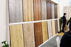 Decorative wooden panels in store. Decorative wooden panels for walls and floor in the store Stock Photos
