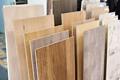Decorative wooden panels for walls. In the store Stock Photography