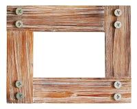 Decorative wooden photo frame isolated on white background. Stock Image