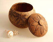 Decorative wooden pot Royalty Free Stock Photography