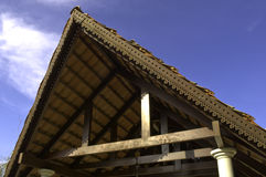 Decorative wooden roof detail Stock Images