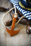 Decorative wooden ship anchored at the helm Stock Image