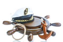 Decorative wooden ship anchored at the helm Stock Photography