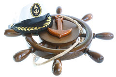 Decorative wooden ship anchored at the helm Royalty Free Stock Images