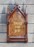 Decorative wooden sign - Happy new year Royalty Free Stock Photography