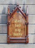 Decorative wooden sign - Work hard, stay humble Stock Images