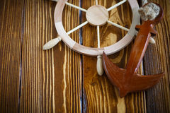 Decorative wooden steering wheel Stock Images