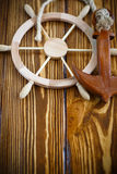Decorative wooden steering wheel Royalty Free Stock Image
