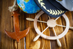 Decorative wooden steering wheel Royalty Free Stock Images
