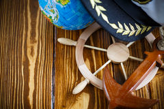 Decorative wooden steering wheel Royalty Free Stock Photos