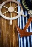 Decorative wooden steering wheel Stock Photos