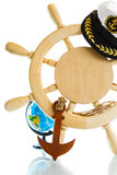 Decorative wooden steering wheel. On a white background Stock Photos