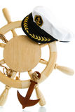Decorative wooden steering wheel. On a white background Stock Image