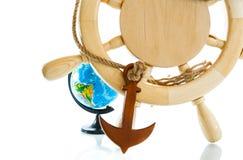 Decorative wooden steering wheel Royalty Free Stock Photo
