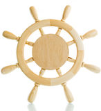 Decorative wooden steering wheel. On a white background Royalty Free Stock Photo