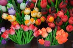 Decorative wooden tulips Stock Photos