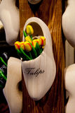 Decorative wooden tulips Royalty Free Stock Images