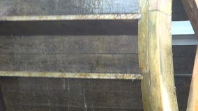 Decorative Wooden Water Wheel stock footage