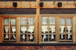 Decorative Wooden Windows and Curtains Royalty Free Stock Images