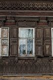 Decorative woodwork on old house Stock Photography