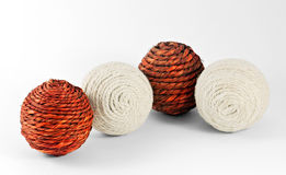 Decorative wool balls. Four wool balls situated on the white background Royalty Free Stock Photography