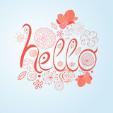 Decorative word hello. Bright word hello on a white background with flowers Royalty Free Stock Photography