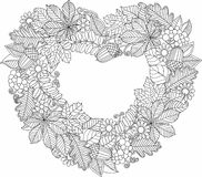 Decorative wreath of autumn leaves. Vector Coloring book for adult. Stock Photography