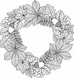 Decorative wreath of autumn leaves. Vector Coloring book for adult. Royalty Free Stock Photo