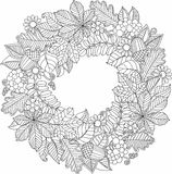 Decorative wreath of autumn leaves. Vector Coloring book for adult. Stock Photos