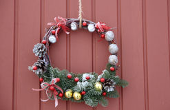 Decorative Wreath. Christmas front door Royalty Free Stock Photos