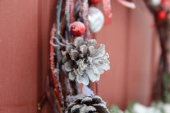 Decorative Wreath. Christmas front door Royalty Free Stock Images