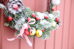 Decorative Wreath. Christmas front door Stock Photography