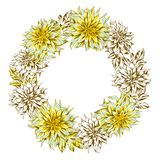 Decorative wreath with fluffy yellow dahlias. royalty free stock images