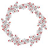 Decorative Wreath with Leaves and Hearts Stock Photo