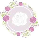Decorative wreath with purple roses for greeting card design Royalty Free Stock Photo
