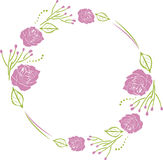 Decorative wreath with purple roses. Illustration Royalty Free Stock Images