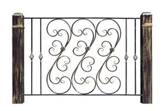 Decorative, wrought handrails, fence in old style. Isolated over white background royalty free stock images