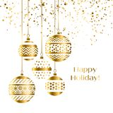 Decorative xmas baubles vector illustration. Five gold decoration Christmas balls hanging stock illustration