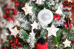 Decorative xmas tree with colourful balls and stars, christmas Royalty Free Stock Photography