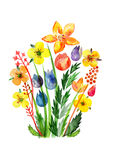 Decorative yellow flowers, Translucent overlying watercolor flower, Meadow flowers, celebration delicate watercolor bouquet Stock Photos
