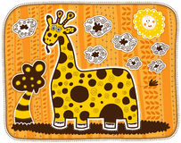 Decorative yellow giraffe Royalty Free Stock Images