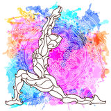 Decorative yoga pose on the abstract multicolored background with ornate round mandala pattern. Royalty Free Stock Photos