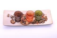 Decorative zen candle pot different colors Stock Photo