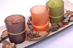 Decorative zen candle pot different colors Stock Image