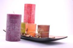 Decorative zen candles different colors Stock Photos