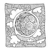 Decorative zentangle with moon Stock Photo