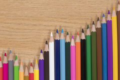 Decorative zigzag arrangement of colored pencils Royalty Free Stock Image