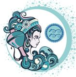 Decorative Zodiac sign Aquarius Stock Image