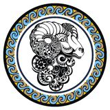 Decorative Zodiac sign Aries Stock Photography